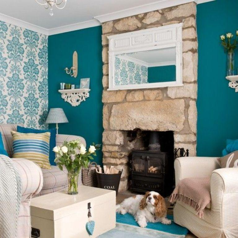 Teal Living Room With Damask Wallpaper