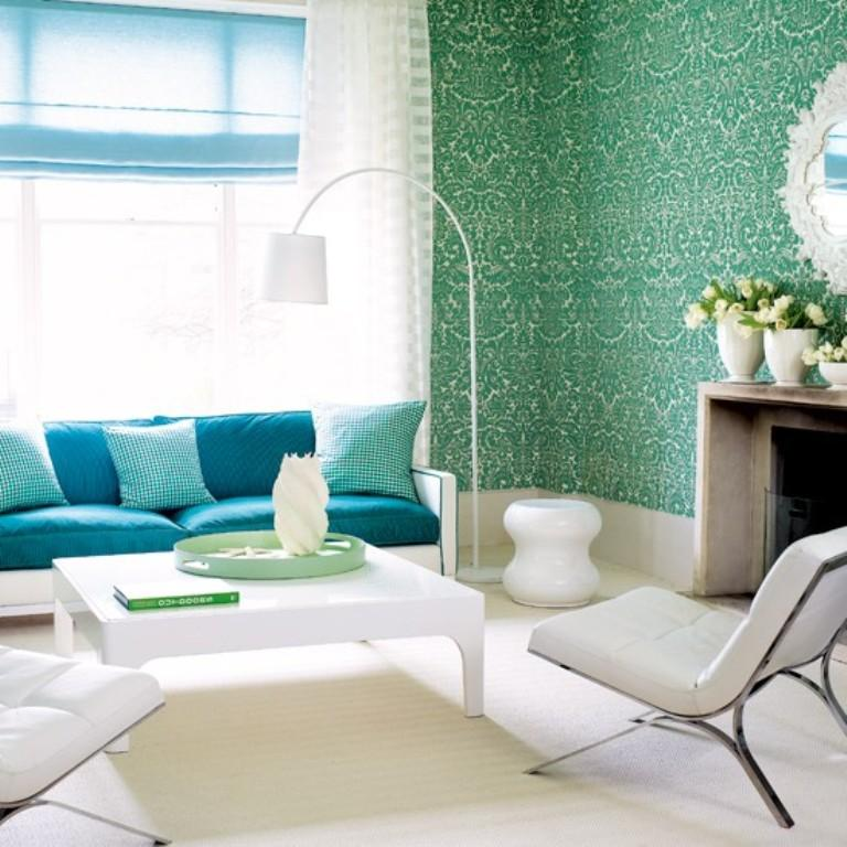Vibrant Living Room With Damask Wallpaper