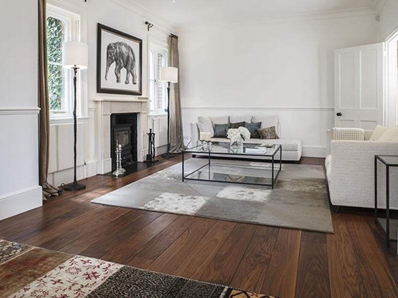 walnut floor warm and solid underfoot for traditional interior - Flooring Ideas For Living Room