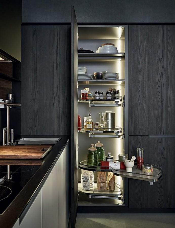 10 super modern kitchen pantry cabinets rilane for Modern kitchen pantry