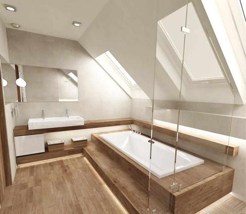 Wooden floor in 20 natural bathroom designs rilane - Attic bedroom design ideas with wooden flooring ...