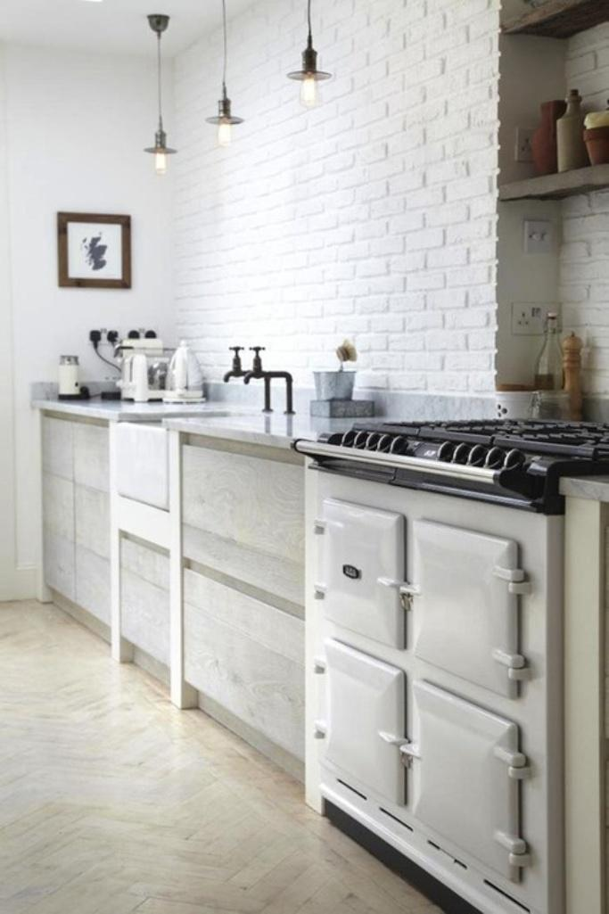 All White Kitchen with Brick Backsplash : white brick backsplash in kitchen - hauntedcathouse.org