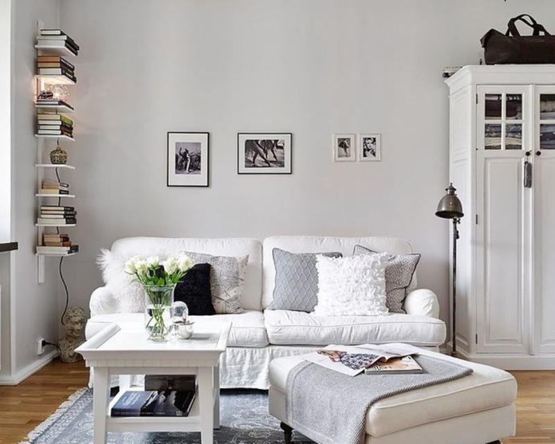 All White Small Living Room Idea
