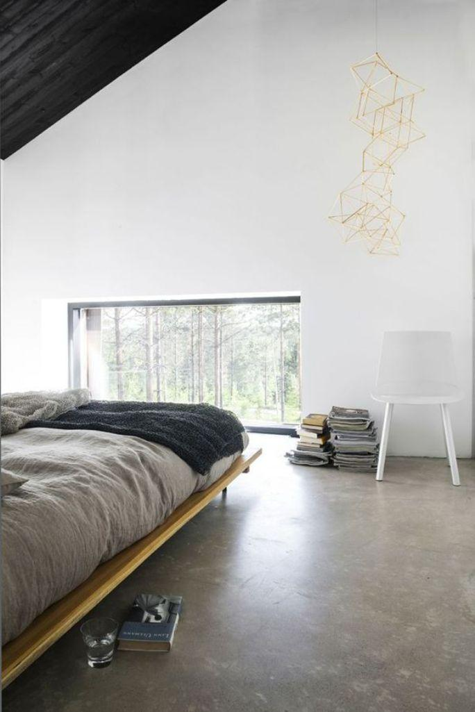 Concrete floor in 18 bold and contemporary bedroom designs for Bedroom flooring
