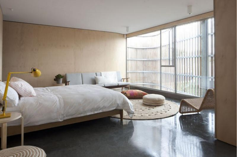 Bedroom With Polished Concrete Floor