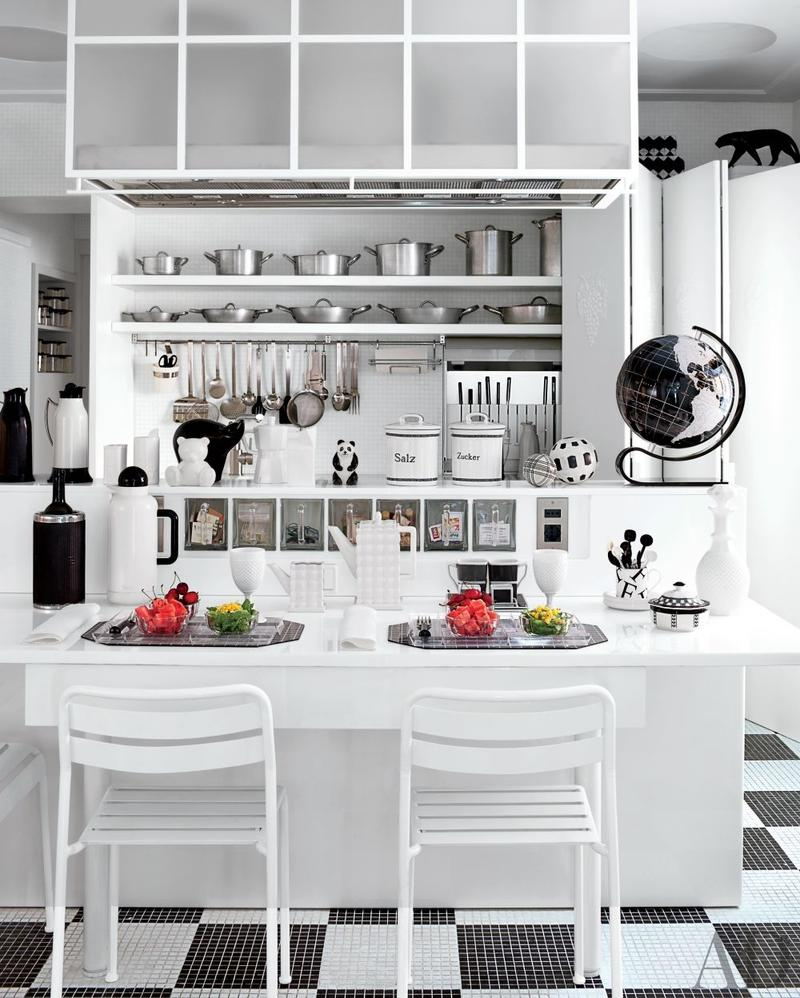 Black And White U Shaped Kitchen