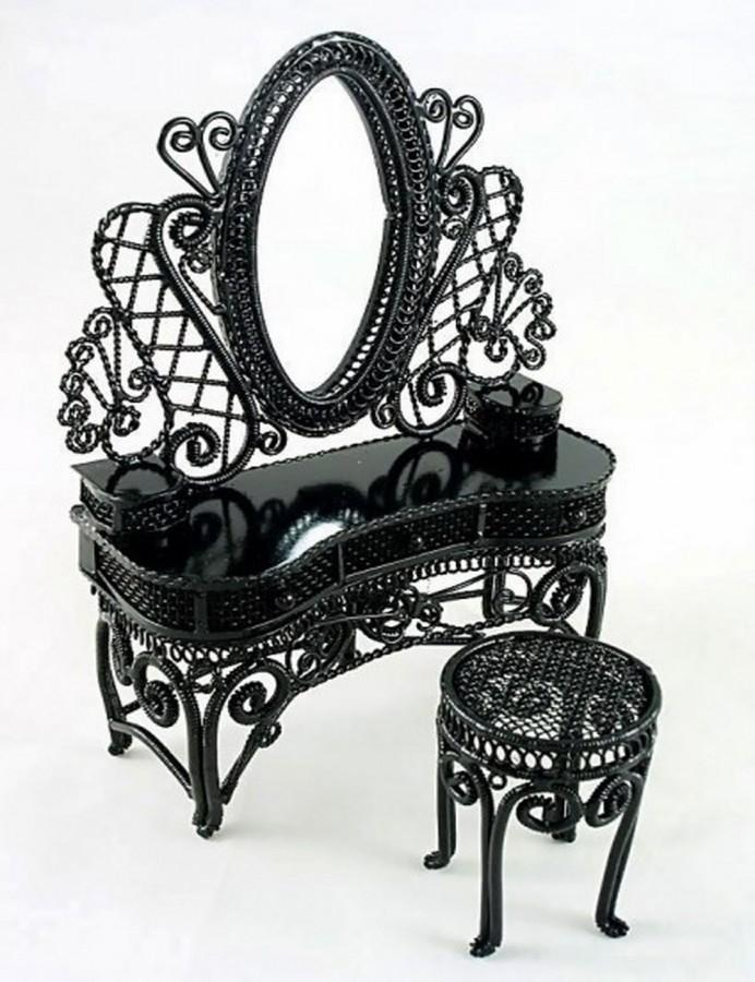 Black Wire Bedroom Vanity Set