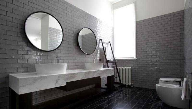 The Gray Subway Tiles Work As A Magnificent Backdrop Of The Minimalist And  Ultra Contemporary Bathroom ...
