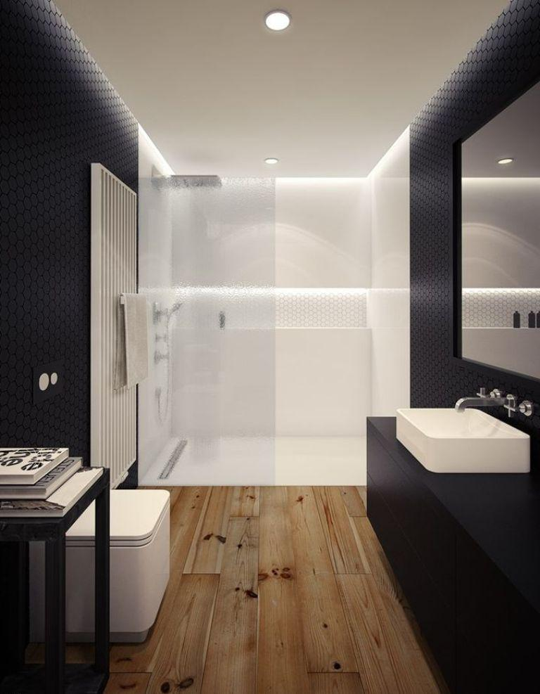 Bold Bathroom With Wood Floor