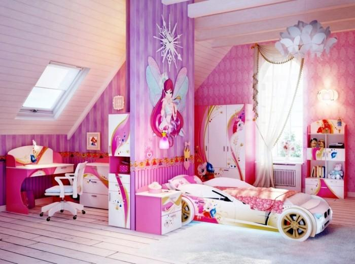 girls bedroom designs. Cheerful Attic Pink And Purple Teenage Girls Bedroom Design With White Car  Shaped Bed 15 Interesting Kid s Ideas Rilane