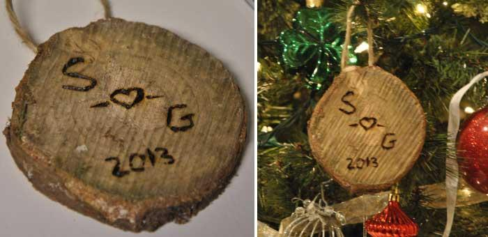 DIY Initials Christmas Ornament: A Mini Wood Log Ornament With Carved  Initials Is Truly Romantic And Beautiful Way To Decorate Your Christmas  Tree And Add A ...