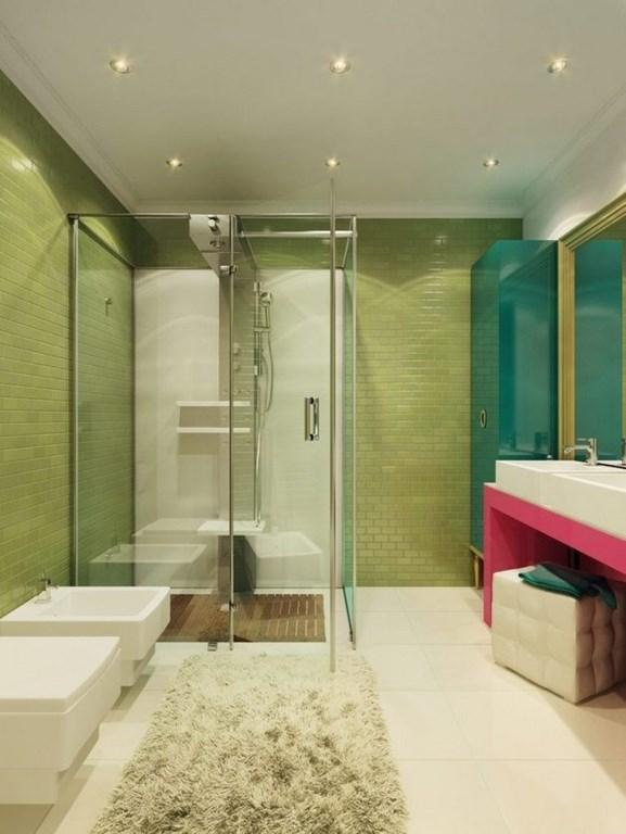 Colorful Bathroom With Subway Tiles