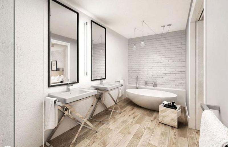 Wooden floor in 20 natural bathroom designs rilane for Hardwood floor in bathroom