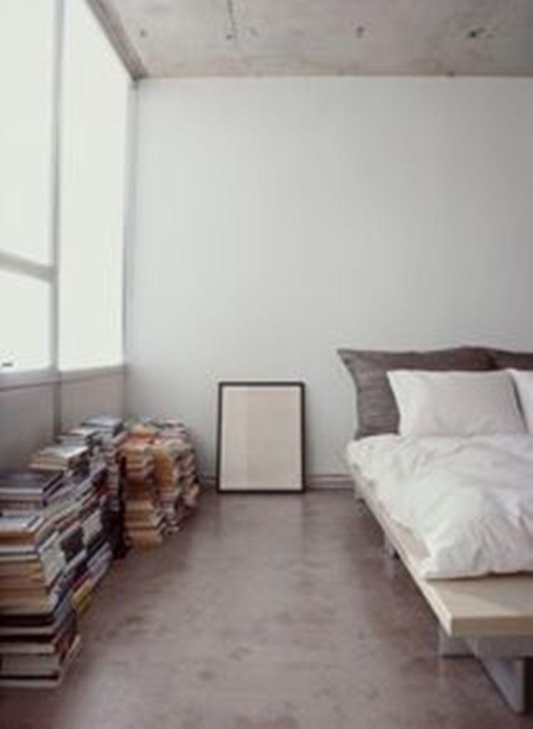 cool bedroom with concrete floor