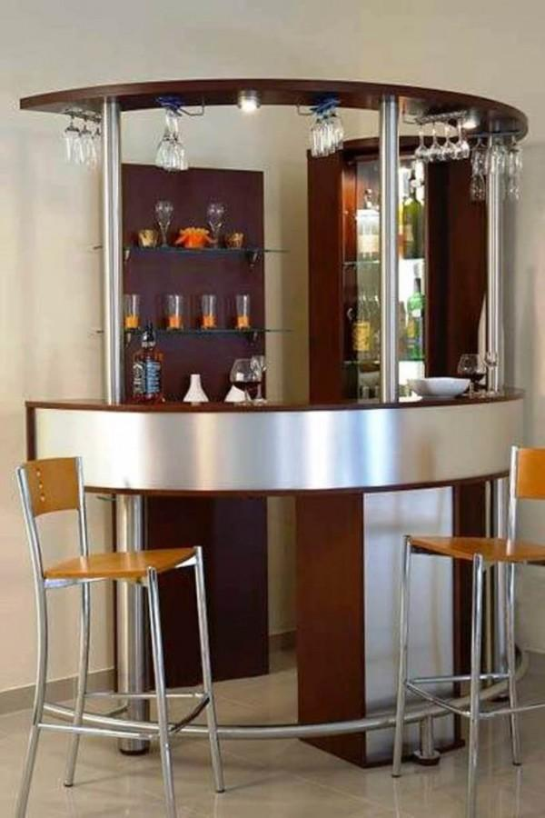 Corner Curved Mini Bar For Home With Hanging Wine Glass Rack