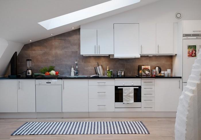 Pure White Attic Kitchen Design
