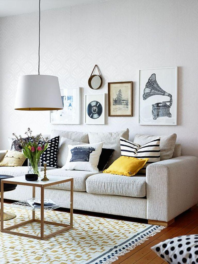 Gallery wall in 30 contemporary living room designs rilane - Decoration salon ikea ...