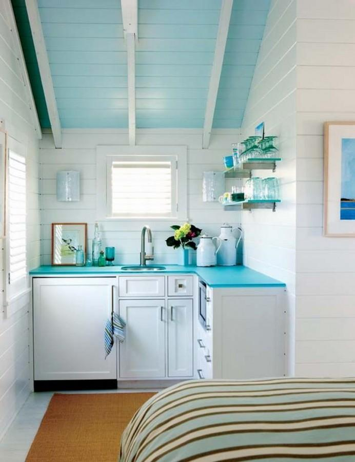 Coastal Aqua Attic Kitchen Design