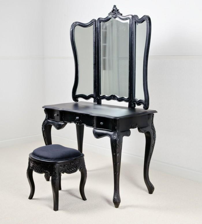 Elegant Bedroom Vanity Set - 10 Bedroom Vanities In Modern Black Shade - Rilane