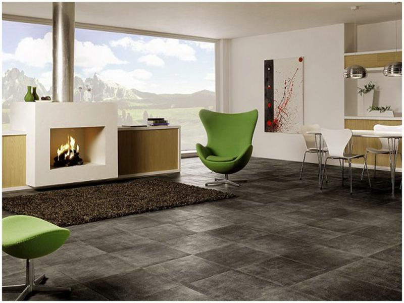 granite floor for bold and dramatic feel - Green Tiles For Living Room Floor