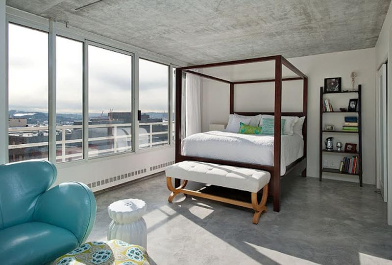 Industrial Chic Bedroom With Concrete Floor