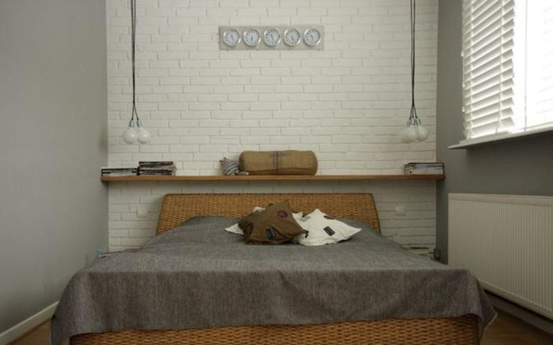 Intimate Bedroom With White Brick Walls