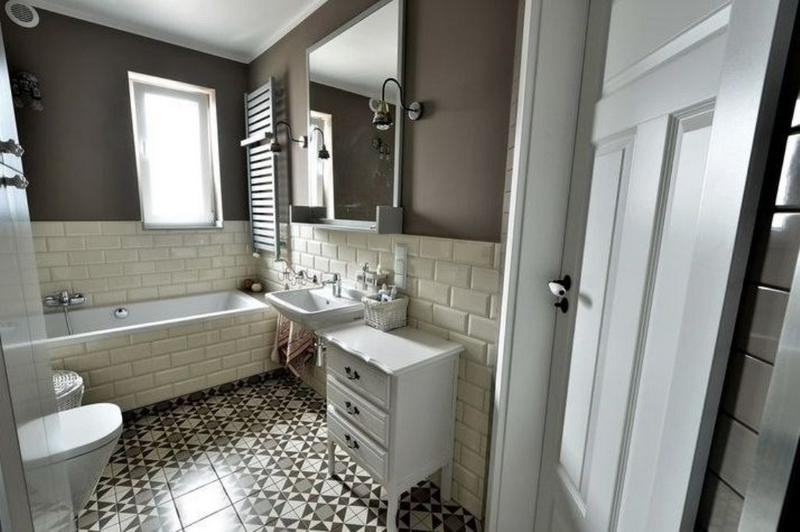 here is another great example of how can you soothe and bright up dark colored bathroom with white subway tiles the dark brown color scheme is superbly - Colorful Subway Tile