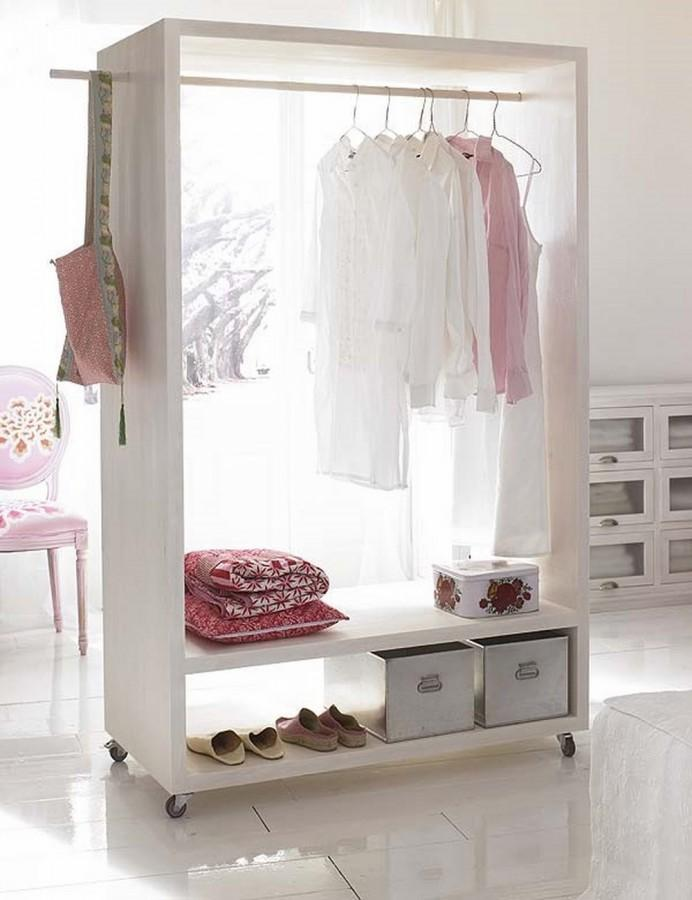 rolling white bedroom clothes rack