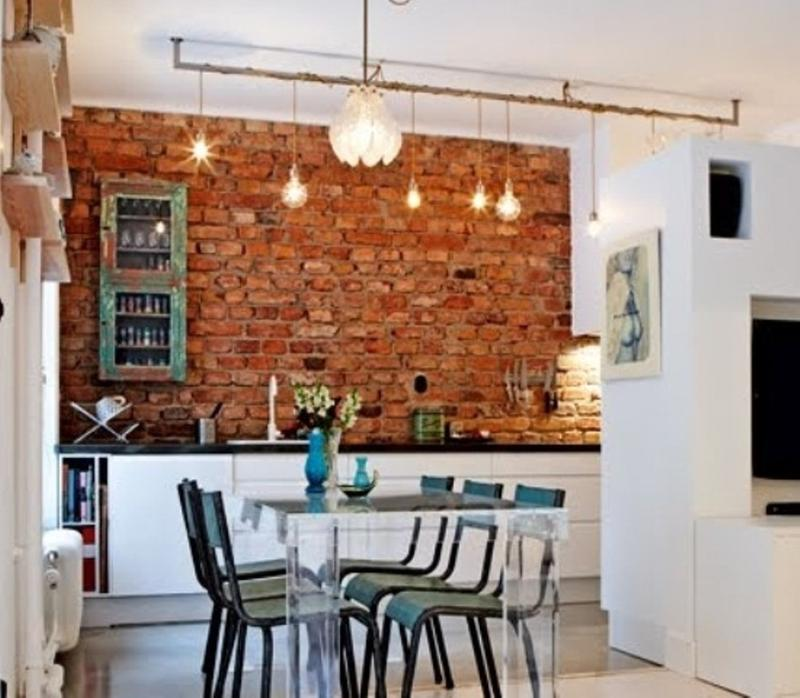 18 contemporary kitchen designs with brick backsplash rilane for White exposed brick wall