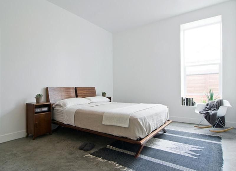 Scandinavian Bedroom With Concrete Floor