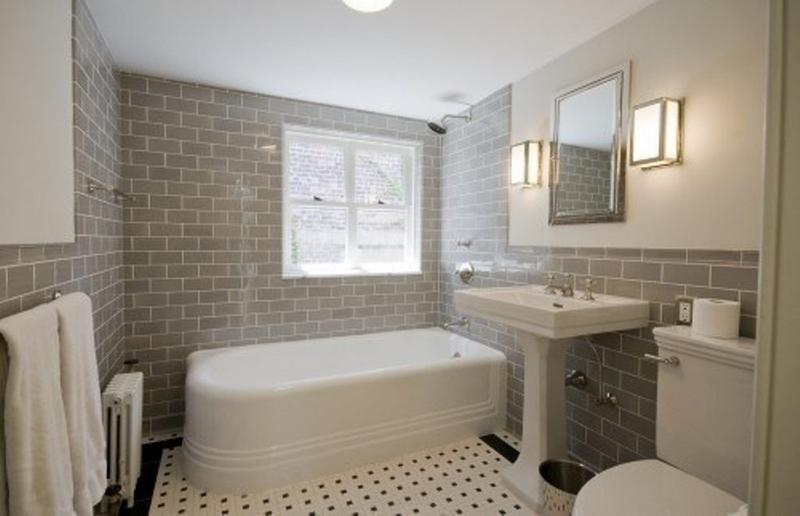 sleek bathroom with subway tiles - Bathroom Designs And Tiles