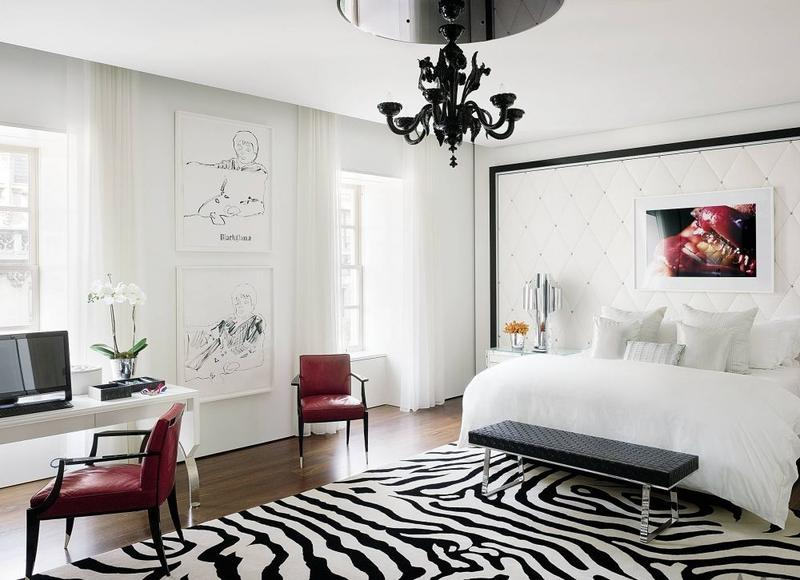 Spacious Chic Bedroom With Zebra Area Rug