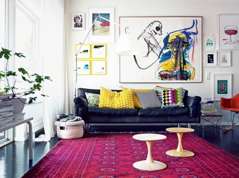 Vivid Living Room With Gallery Wall