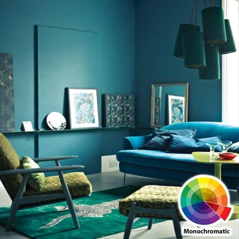 Blue Monochromatic Color Scheme living room colour scheme in exquistie 23 design ideas - rilane