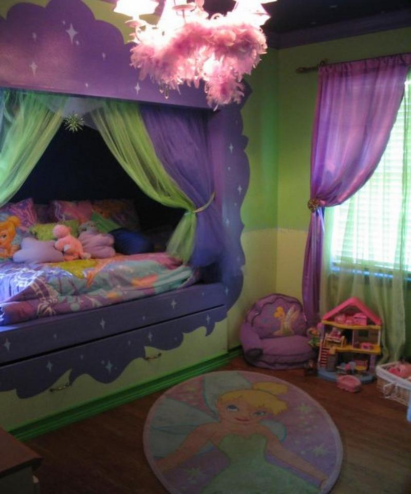 Disney fairies bedroom ideas girl beds beautiful pictures for Tinkerbell bedroom furniture