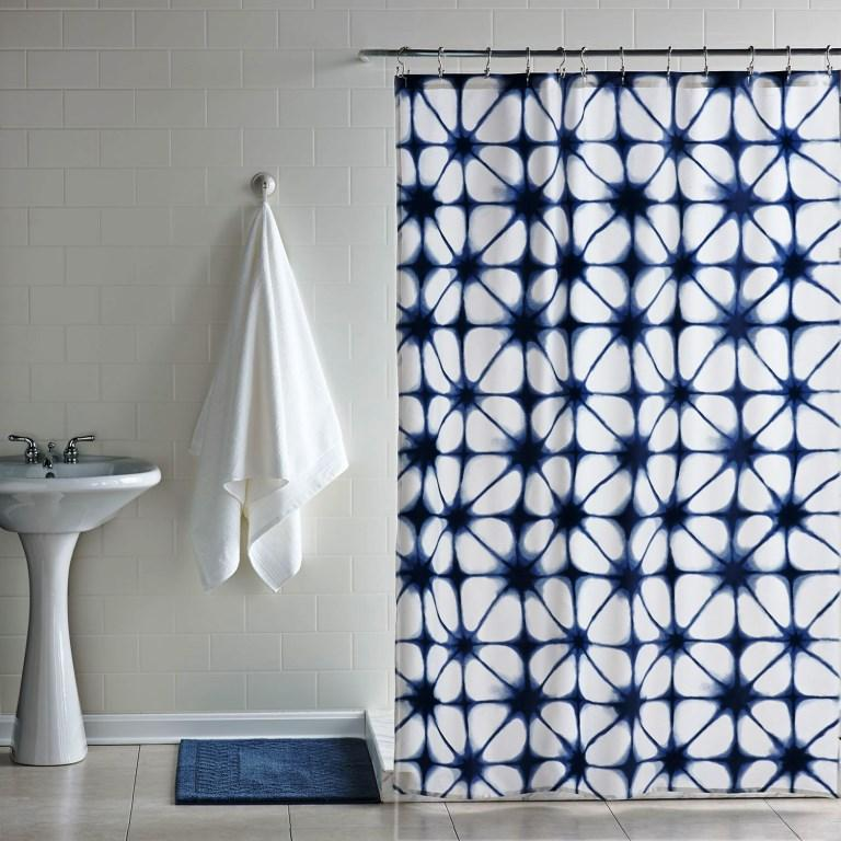 navy and white shower curtain. Blue Ikat Shower Curtain Navy Curtains in 10 Awesome Patterned Designs  Rilane