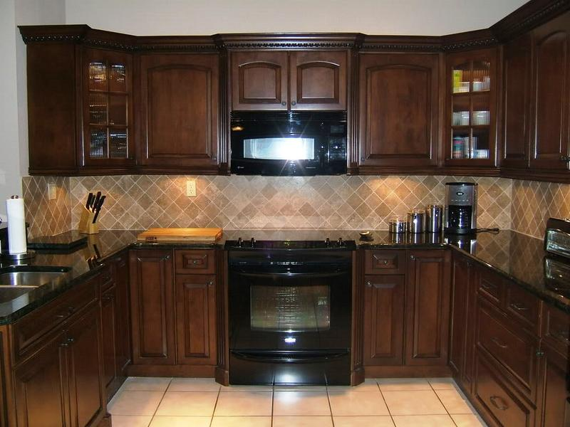 Brown Espresso Kitchen Cabinets With Brown Backsplash Part 82