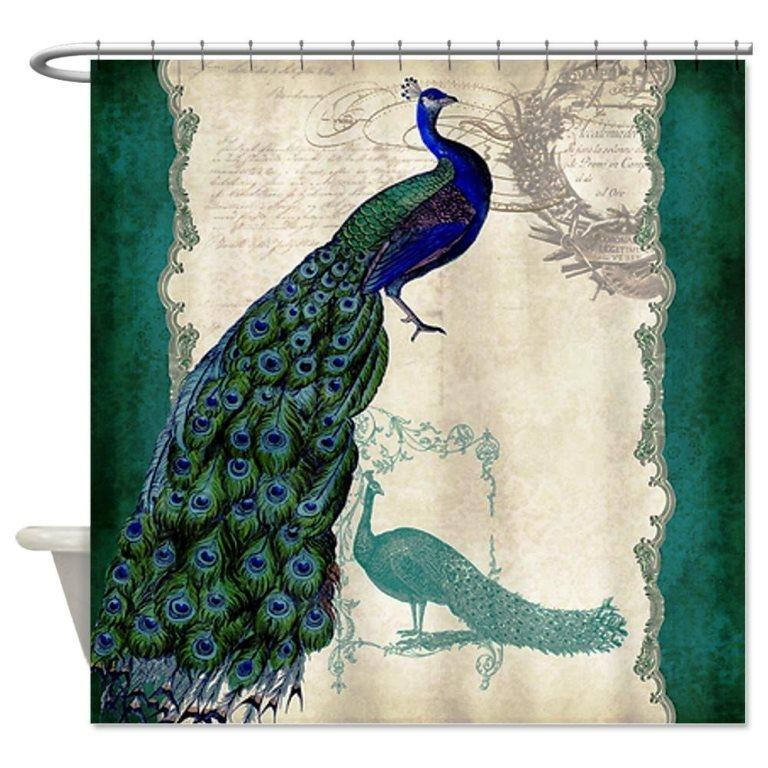 Classic And Beautiful Peacock Shower Curtain Design