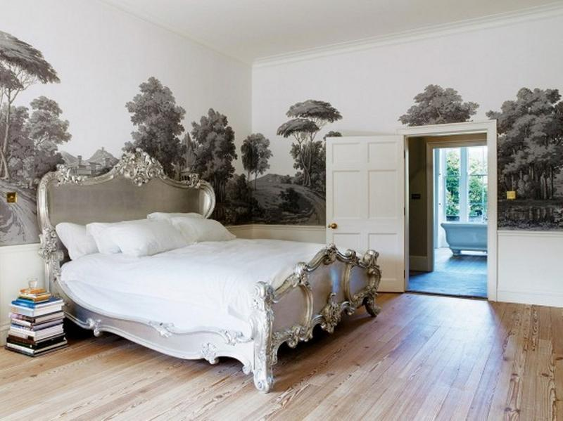 classy bedroom with nature wall mural - Aesthetic Bedroom