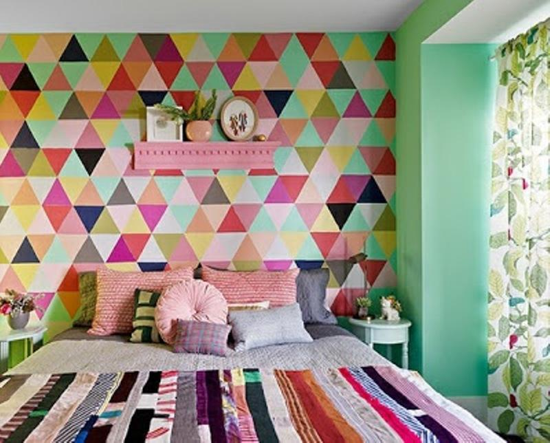Contemporary Bedroom with Geometric Wall Mural. Bedroom Wall Murals in 25 Aesthetic Bedroom Designs   Rilane