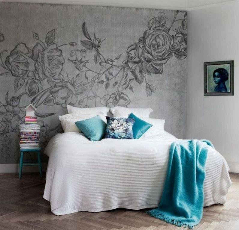 Distinctive bedroom with monochrome wall mural