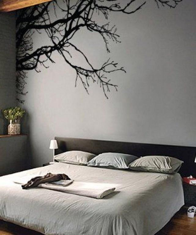 Gray Bedroom With Tree Wall Mural