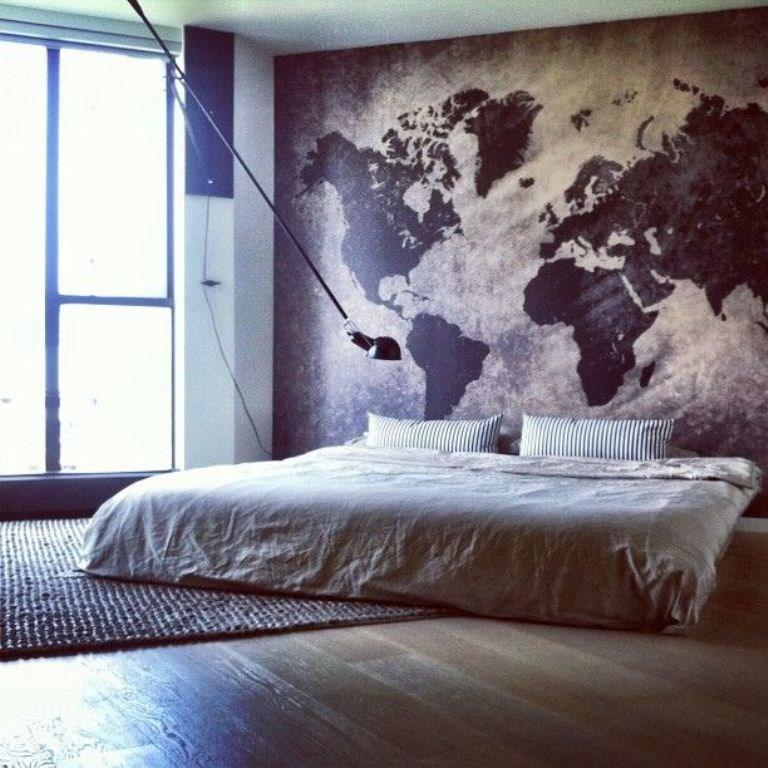 Map Wall Mural In The Bedroom
