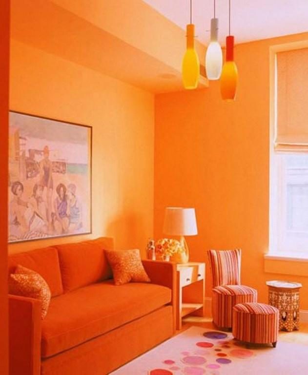 Monochromatic Orange Living Room
