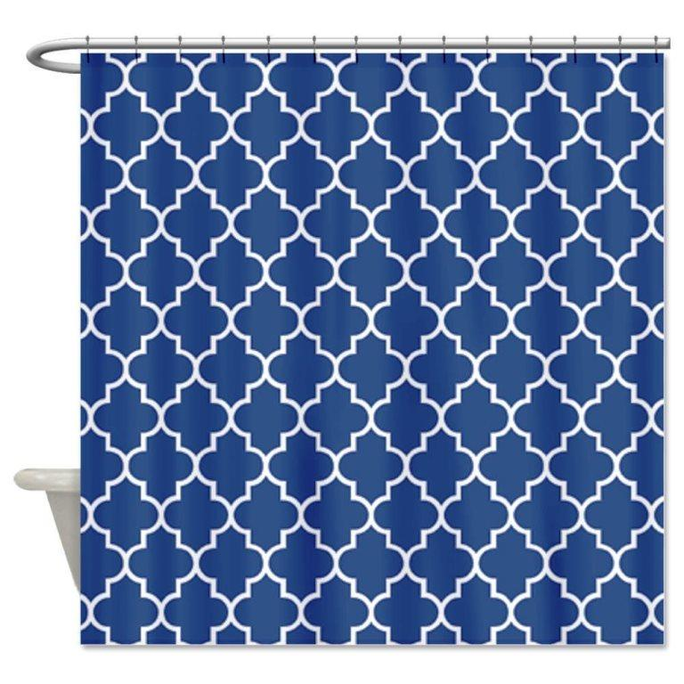 Navy Blue And White Patterned Shower Curtain