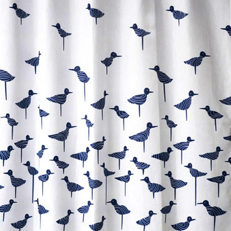 Navy Blue Sand Piper Shower Curtain