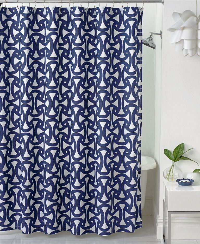 Navy Blue Santorini Shower Curtain Curtains in 10 Awesome Patterned Designs  Rilane
