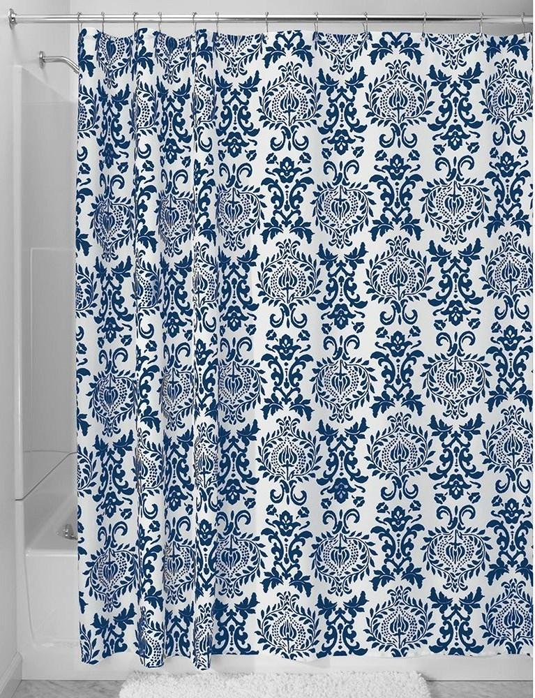 Outstanding White and Navy Blue Floral Patterned Shower Curtain Curtains in 10 Awesome Designs  Rilane