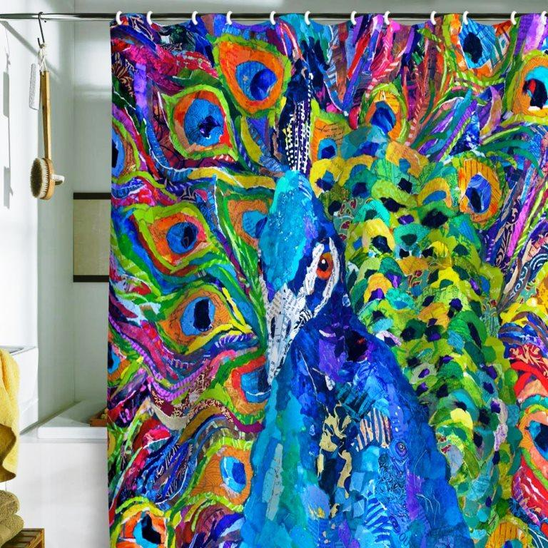 Nautical shower curtain ideas - Peacock Shower Curtains In 10 Colorful And Eccentric