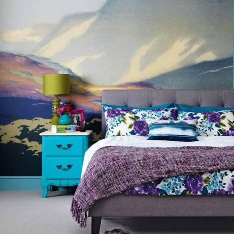 Delightful Striking Bedroom Wall Mural